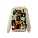 Hooded Raglan Sleeve Long Sleeve Character Print Sweatshirt