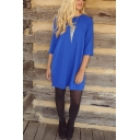 Round Neck Half Sleeve Plain A-Line Mini Dress