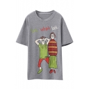 Cartoon & Letter Print Round Neck Short Sleeve Tunic Tee