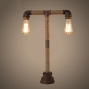 Mottled Rust Iron Two Light LED Table Lamp with Natural Rope Accents