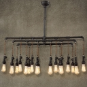 Industrial Pipe 18 Light Large LED Linear Chandelier