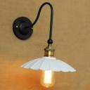 White 1 Light Mini Gooseneck LED Wall Sconce in Matte Black Finish
