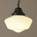 11'' Wide Schoolhouse LED Pendant Light in Black Finish