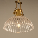 Brass Finish Dome Suspended Light with Ribbed Glass Shade Vintage Decorative 1 Light Pendant Light