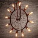 Aged Copper 12 Lights Industrial LED Pendant in Wheel Shape
