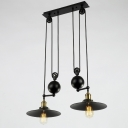 2 Light Adjustable LED Close to Ceiling Light in Black Finish