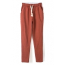 Drawstring Waist Plain Loose Harem Linen Cropped Pants