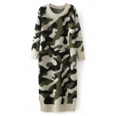 Round Neck Camouflage Long Sleeve Longline Sweater