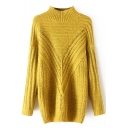 High Neck Hollow Out Long Sleeve Longline Sweater