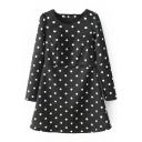Polka Dot Round Neck Long Sleeve Black Short Winter Dress