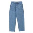 Blue High Waist Cropped Wide Leg Zipper Fly Jeans