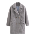 Plain Notched Lapel Double Breasted Pockets Long Tweed Coat