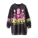Funny Octopus & Latter Print PU Patchwork Tunic Sweatshirt