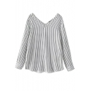 V-Neck Both Front And Back Vertical Stripes Long Sleeve Blouse