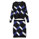 Round Neck Chevron Color Block Sweater with Tube Midi Skirt