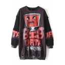 Hip-Hop Style Letter Print PU Patchwork Tunic Sweatshirt