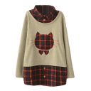 Cat Embroidery Plaid Detail Lapel False Two-Piece Sweatshirt