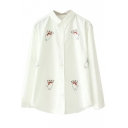 Lapel Cat Cartoon Embroidery Long Sleeve White Shirt