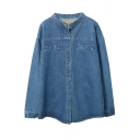 Stand Up Neck Long Sleeve Double Pockets Single Breasted Plain Denim Coat