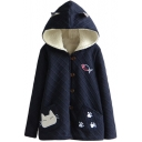 Cute Cartoon Embroidery Hooded Rhombus Jacquard Wool Lining Coat