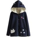 Cute Cartoon Embroidery Hooded Rhombus Jacquard Wool Lining Coat