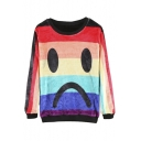 Emoji Print Rainbow Color Block Flannel Long Sleeve Sweatshirt