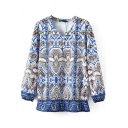 V-Neck Long Sleeve Pullover Tribal Print Blouse