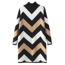 High Neck Chevron Jacquard Color Block Longline Sweater