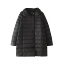 Plain Lapel Raglan Sleeve Long Padded Coat