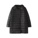 Plain Lapel Raglan Sleeve Long Padded Coat