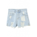 High Waist Ripped Washed Old Raw Edge Hot Denim Shorts