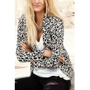 Lapel Single Button Long Sleeve Leopard Print Blazer