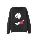 Round Neck Cartoon Embroidery Black Fleece Loose Sweatshirt