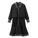 V-Neck 3/4 Length Sleeve Zipper Ruffle Hem Patchwork Dress