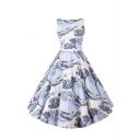 Boat Neck Blue Wave Painting Print Belt Waist A-Line Dress