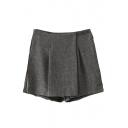 Zipper Fly Plain Short Mid Waist Layered Skirt Shorts