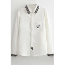 Anchors Embroidery Stripe Trims Single Pocket White Shirt