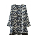 Coconut Leaf Print Round Neck Tassel Hem Chiffon Dress