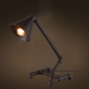 Rust Iron Single Light Cone Shape Task LED Desk Lamp