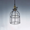 Bird Cage 1 Light Pendant Lamp in Matte Black for Hallway Farmhouse Cafe