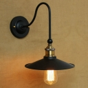 Vintage Black Single Light Wall Sconce with Cone Shade