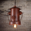 Weathered Copper 1 Light Industrial LED Pendant Light with Metal Chain Accents