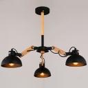 Matte Black Spun Wood 3 Light Small LED Chandelier