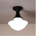 8.66'' Wide Schoolhouse LED Ceiling Light in Black