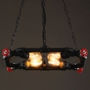 20'' W Black Finished Pipe 4-Light Square Swing LED Pendant