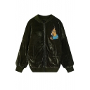 Cartoon & Letter Embroidery Zipper Velvet Quilted Jacket