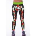 Floral & Skeleton Print Black Stretch Yoga Leggings