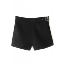Plain False Belt Side Tweed Loose Shorts