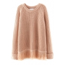 Plain Raglan Sleeve Turn Up Cuff Tassel Hem Sweater