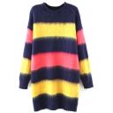 Round Neck Stripes Color Block Longline Sweater